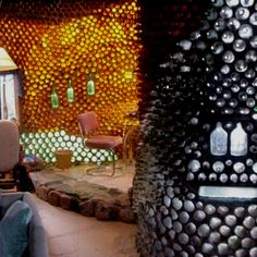 Earth ships. homes made of recycled bottles, tires, and other materials.