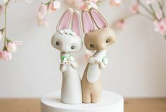 Rabbit Wedding Cake Topper by Bonjour Poupette by BonjourPoupette Pug Wedding, Rabbit Wedding, Wedding Cake Toppers, Wedding Cakes, Rabbit Cake, Pastel Decor, Two Brides, Makers Mark, White Flowers