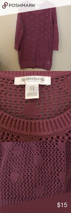 Motherhood Maternity polka dot 3/4 sleeve sweater NWOT Adorable Maternity sweater!  Perfect layered with a cami.  The Polka dots are a cute detail that pop with a white cami. Looks great paired with jeans!  Never worn! Motherhood Maternity Sweaters
