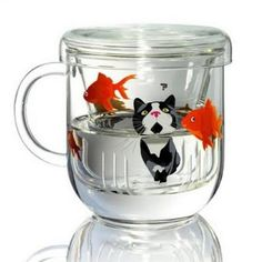 Scenic Glass Teaware: Chillichilly Tea Cups Represent Cat as Goldfish Preditor or Prey Crazy Cat Lady, Crazy Cats, Cute Cups, Cat Accessories, Coffee Accessories, Cat Decor, Cat Mug, Tea Infuser, Tea Set