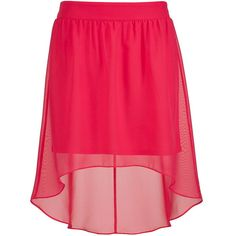 teaberry high-low chiffon skirt ($34) ❤ liked on Polyvore featuring skirts, bottoms, jupes, saias, red high low skirt, red skirt, short in front long in back skirt, high low chiffon skirt and hi lo chiffon skirt