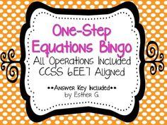 Solving One-Step Equations BINGO CCSS 6.EE.7 Aligned FREEBIE