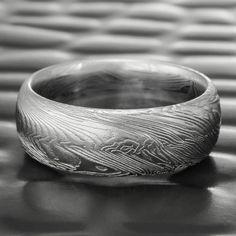 Men's Damascus Steel Ring Domed Men's Band   FINE WOOD — Steven Jacob Wide Wedding Bands, Wedding Men, Wedding Rings, Damascus Ring, Damascus Steel, Wood Rings, Wedding In The Woods, Rings For Men