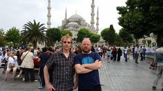 Mark and Dan in front of the Blue Mosque, Istanbul.