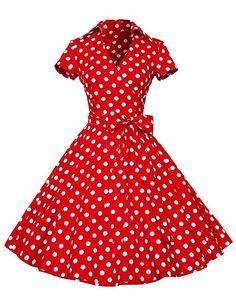 774c2305350 Dresstells Rockabilly Kleid 1950er Retro Polka Dots Kurz Faltenrock  Petticoat Cocktailkleid Red Dot XS Cute Dresses