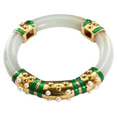 View this item and discover similar for sale at - An original carved jade bangle with yellow gold, green enamel and pearl accents. Jade Jewelry, Enamel Jewelry, Antique Jewelry, Crystal Jewelry, Jewelry Art, Silver Jewelry, David Webb, Jacqueline Kennedy Onassis, Bangle Bracelets