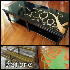This is what I want to do on the front of my dresser - more foliage, less beanstalk, and green ombre instead of black...