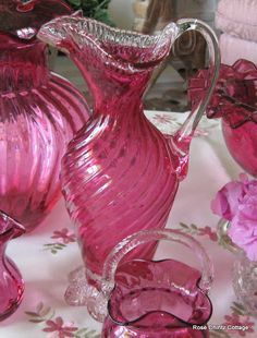 Rose Chintz Cottage: Cranberry Glass for Pink Saturday Fenton Glassware, Antique Glassware, Antique Bottles, Cranberry Glassware, Magenta, Carnival Glass, Colored Glass, Glass Art, Perfume Bottles