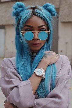 28 Top Blonde Ombre Hair Color Ideas for 2019 - Style My Hairs Hair Color Blue, Cool Hair Color, Bright Blue Hair, Green Hair, Purple Hair, Colored Hair, Hair Inspo, Hair Inspiration, Character Inspiration
