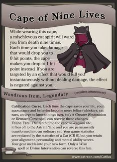 dungeons and dragons Homebrewing Cape of Nine Lives - Roleplay Item Card by Catilus on DeviantArt Dnd Dragons, Dungeons And Dragons Characters, D&d Dungeons And Dragons, Dnd Characters, Dungeon Master's Guide, Dnd Funny, Dnd 5e Homebrew, Dragon Memes, Dnd Monsters