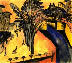 Ernst Ludwig Kirchner - Gelbes Engelsufer, Berlin, 1913. Oil on canvas, 71.5 cm (28.15 in.) x 80.5 cm (31.69 in.). Kunsthalle Mannheim, Germany