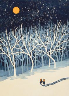 This is so wintery and evocative  If on a Winter's Night Young Lover's... Art Print