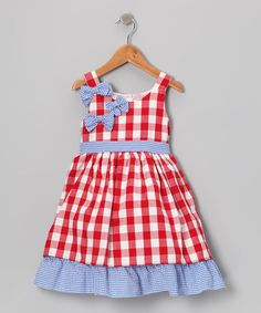 {Blue & Red Gingham Bow Ruffle Dress - Toddler & Girls by Gidget Loves Milo}