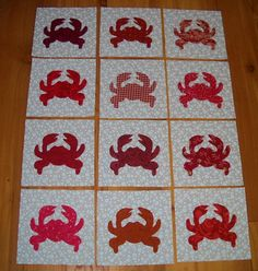 Set of 12 Applique Quilt Blocks  ...  Red Crab by MarsyesShoppe