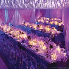 Wedding purple lights..winter wedding. Purple!