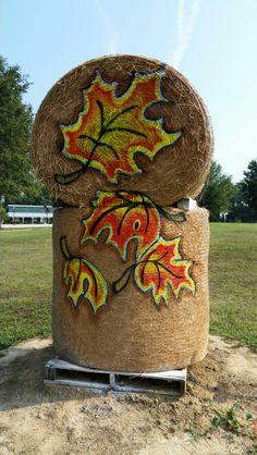 Painted hay bale at Hill Ridge Farms by Cyndi Mcknight fall 2015.