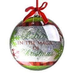 """""""Magic of Christmas"""" Glass Disk Ornament : Traditional Christmas"""