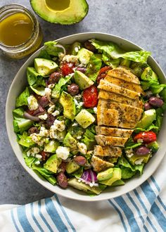 Greek Avocado & Grilled Chicken Salad with Greek Dressing | Gimme Delicious