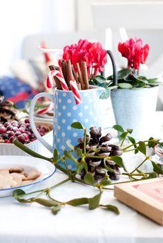 Cinnamon, blue, dot, Christmas table, Minty House