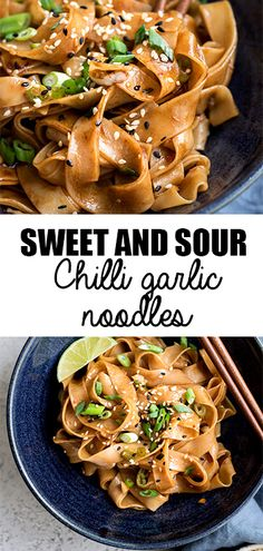 These sweet and sour chilli garlic noodles only take 15 minutes to make! They make an easy, delicious and vegan dinner! TRY WITH SHRIMP Pot Pasta, Pasta Dishes, Vegan Dinners, Lunches And Dinners, Vegetarian Recipes, Cooking Recipes, Healthy Recipes, Chilli Garlic Noodles, Garlic Noodles Recipe