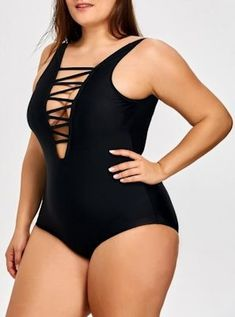 7f56cacf7a4 plus size swimsuits, plus size one piece swimsuit, v-neck, criss cross  bust, plunging neck, black plus size bathing suit, molded cups, strappy  swimwear, ...