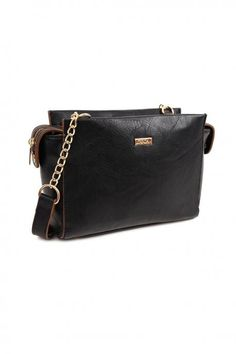 Black cross body bag, made of pu leather, with chain and decorative details. Comes with protective dust bag. Black Cross Body Bag, Pu Leather, Dust Bag, Fall Winter, Crossbody Bag, Bags, Collection, Women, Handbags