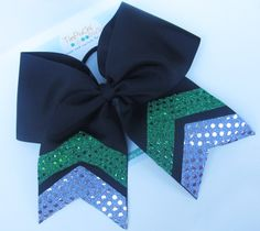 Black 6 Cheer Bow with silver and green by TinPuChiBoutique, $12.00
