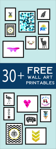 Looking for some awesome wall art or building a gallery wall? Here are over 30 free printables you can download instantly. From modern to vintage, plenty of styles to choose from and new prints added all the time.