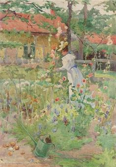 Lady in the Garden - Eurilda Loomis - (American: 1860-1931)