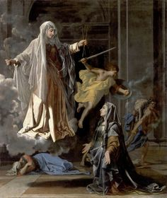 Nicolas Poussin - Santa Francesca Romana [c.1657] I think it's cool how the woman appears to be floating and the smoke/cloud is a really interesting and unique effect. --- baroque art.