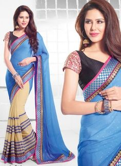 Sky Blue And Cream Georgette Patch Border Saree