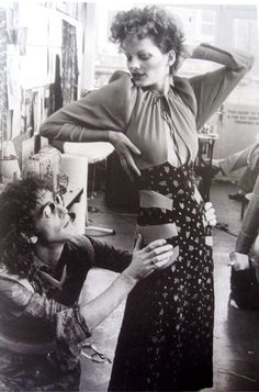 Ossie Clark with Gala Mitchell his favourite model. 'It's all in my brain and fingers' he once said, 'I am a master cutter'