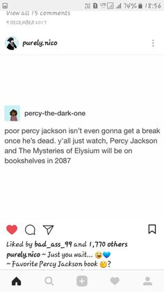 Purely.nico percy-the-dark-one poor percy jackson isn't even gonna get a break once he's dead. y'all just watch, Percy Jackson and The Mysteries of Elysium will be on bookshelves in 2087 | Tumblr