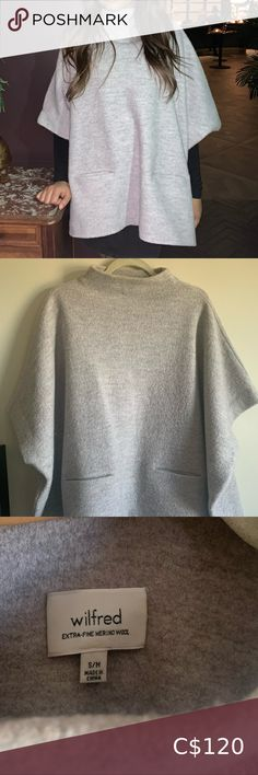 Oversized Coat A grey oversized coat 2 pockets at the front Half sleeve Pretty warm when wearing it Wilfred Jackets & Coats Oversized Coat, Half Sleeves, Gray Color, Jackets For Women, Bell Sleeve Top, Pockets, Coats, Warm, Grey