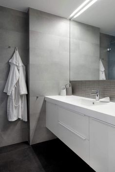 Bathroom in gray and white