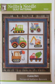 Any little boy will adore this applique quilt pattern that features diggers and pushers of dirt. It's an easy applique project and will make for a lovely gift to hang in the new little man's nursery. Finished size is 47 x 55 Colchas Quilting, Quilting Projects, Quilting Designs, Sewing Projects, Boys Quilt Patterns, Applique Quilt Patterns, Quilt Baby, Motifs D'appliques, Book Quilt