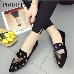 POADISFOO 2018 Women s Fashion Loafers Flats Slip-On Animal Print Casual  Spring metal buckle embroidery 8259d8fbe445