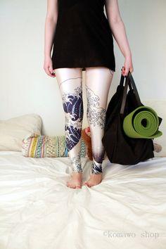 BLUE JAPAN WAVE Leggings Printed Cool Leggings/Sport by KOMAWO