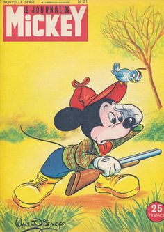 wall art- Mickey Mouse Hunting, Vintage Magazine Cover