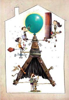 """""""Viento"""", ilustración de Pablo Bernasconi, de su propio relato """"La verdadera explicación""""...  """"Existe una casa, cerquita de Trelew, donde vive una familia que se dedica al manejo y mantenimiento del aparato generador del viento que recibe todo el planeta…"""" (Bernasconi, 2012: 12). Decoupage, Table Lamp, Clock, Illustration, How To Make, Witches, Random Things, Home Decor, Image"""