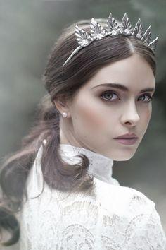"Silver headpiece from Viktoria Novak ""The Evocative Prequel"" collection   Wedluxe Magazine #headpiece #viktorianovak"