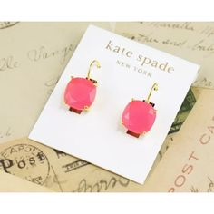 "NWT  KATE SPADE  SQUARE LEVERBACK DROP EARRINGS NWT KATE SPADE ROUND SQUARE LEVERBACK DROP EARRINGS FLO PINK, comes with Original DustBag when Purchased 1/2"" square.     - 14k-gold plate/glass/14k gold?filled leverback.     - By kate spade new york; imported.     - Color: Flo Pink kate spade Jewelry Earrings"