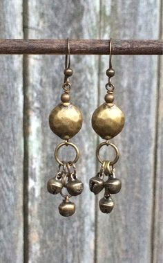 0e2dcb4d1b Boho Jewelry Tibetan Bell Antiqued Brass Dangle by Lammergeier ファッションブティック