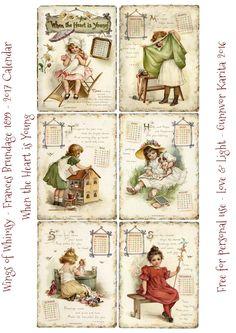 Wings of Whimsy: Frances Brundage 1899 Calendar Vintage Labels, Vintage Ephemera, Vintage Cards, Vintage Paper, Look Vintage, Vintage Images, Vintage Prints, Vintage Calendar, Art Calendar