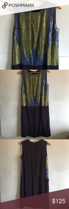 NWT MALI PARMI Italian Sequin Dress Size 12 New with tags! 100% viscose. Fully lined. Awesome Sequin Top, drop waist. One side has an adjustable strap. European Size: 42 Anthropologie Dresses