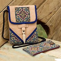 Discover unique handcrafted treasures. Every purchase will help UNICEF save and improve children's lives and help support talented artisans. Hemp purse and phone pouch, 'Ultimate Blue'