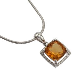 Beautiful 18ct W.G, 2.16ct Citrine & Diamond Pendant #graysonline #auction #citrine #diamond #necklace