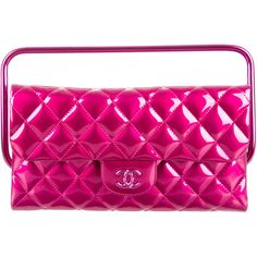 Pre-owned Chanel Metallic Clutch w/ Handle ($3,000) ❤ liked on Polyvore featuring bags, handbags, clutches, pink, man bag, pink clutches, pink hand bags, pink patent leather purse and pink purse