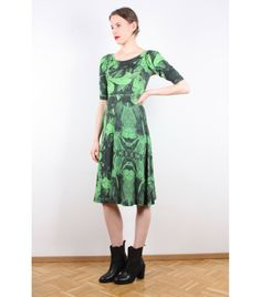 Ivana Helsinki Green Print Lampa Dress, S - WST