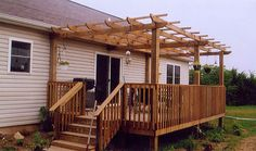 pergola on deck - I want this and I know my hubby can do it!